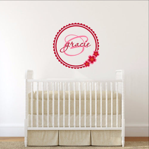 Personalized Cherry Blossom Monogram Nursery Vinyl Wall Decal 22395 - Cuttin' Up Custom Die Cuts - 1