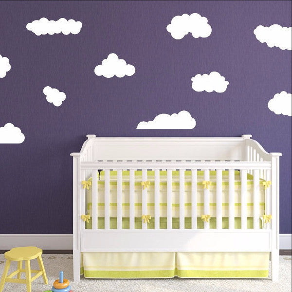 Clouds Set of 10 Kids Room Nursery Wall Decals 22398 - Cuttin' Up Custom Die Cuts - 1