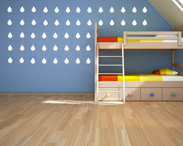 Raindrops Set of 50 Kids Room Nursery Vinyl Wall Decals 22399 - Cuttin' Up Custom Die Cuts - 2
