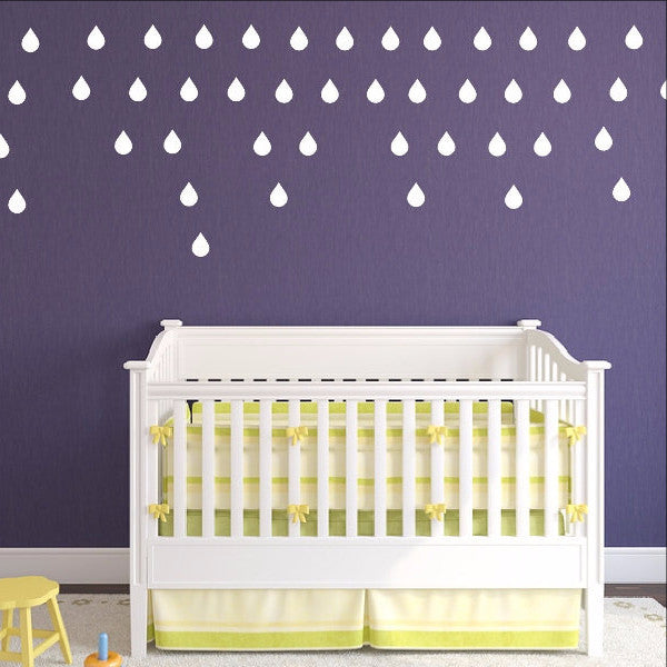 Raindrops Set of 50 Kids Room Nursery Vinyl Wall Decals 22399 - Cuttin' Up Custom Die Cuts - 1