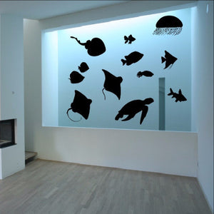 Sea Creatures Set of Twelve Vinyl Wall Decals Sea Turtle Jellyfish Rays 22411 - Cuttin' Up Custom Die Cuts - 1