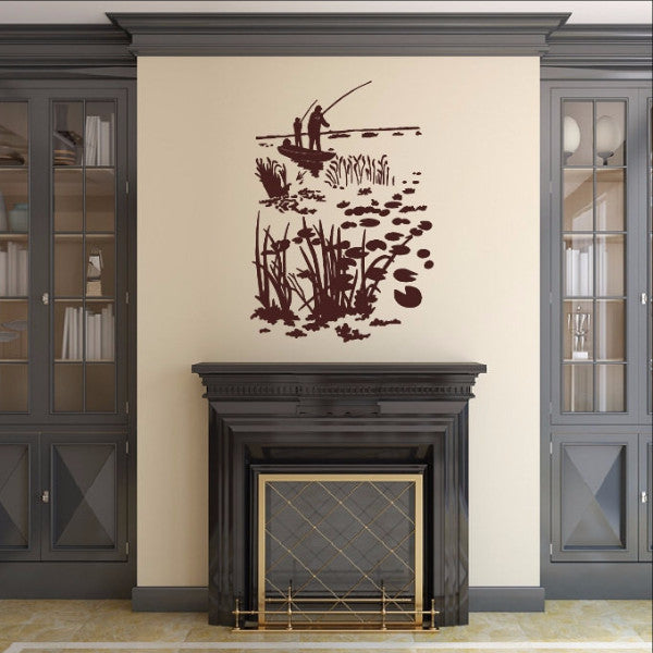 Fisherman in Boat on Pond with Lily Pads Vinyl Wall Decal  22417 - Cuttin' Up Custom Die Cuts - 1