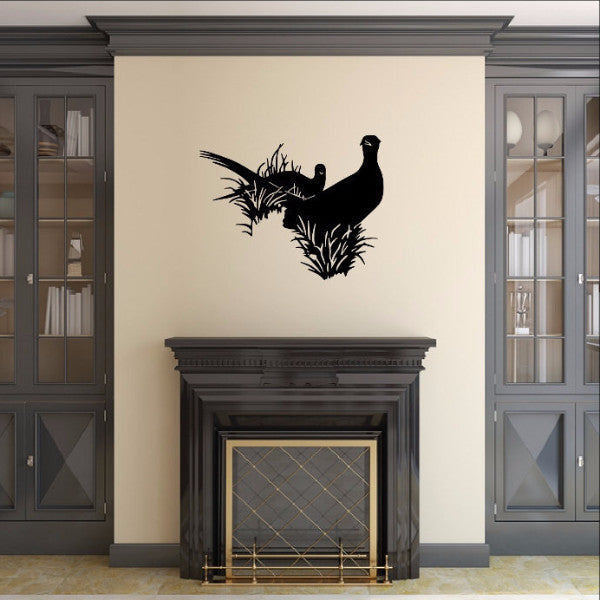 Pheasants in Grass Style B Vinyl Wall Decal 22420 - Cuttin' Up Custom Die Cuts - 1