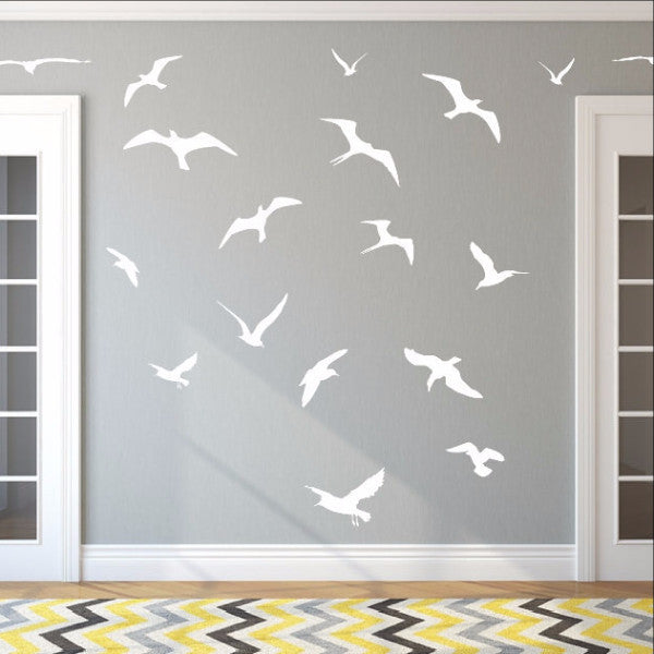 Seagulls Set of 18 Vinyl Wall Decals - Beach Wall Decor - Bird Wall Decals 22426 - Cuttin' Up Custom Die Cuts - 1