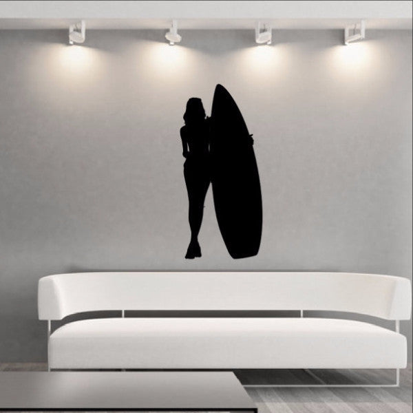 Surfer Girl Wall Decal - Beach Decor - Surfer Girl Style C Vinyl Wall Decal 22431 - Cuttin' Up Custom Die Cuts - 1