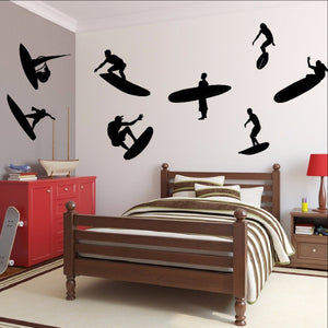 Surfer Guy Silhouettes Variety Set of 8 Vinyl Wall Decals 22433 - Cuttin' Up Custom Die Cuts - 1