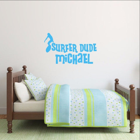 Surfer Dude Decal - Personalized Surfer Vinyl Wall Decal 22436 - Cuttin' Up Custom Die Cuts - 1