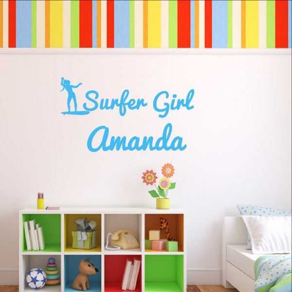 Personalized Surfer Girl Name Vinyl Wall Decal 22438 - Cuttin' Up Custom Die Cuts - 1