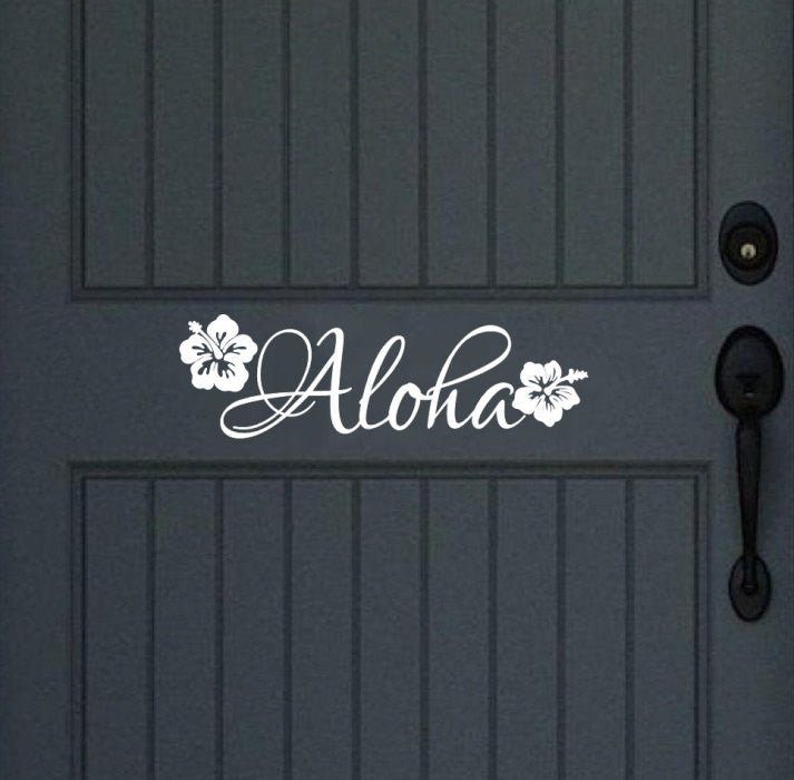Aloha Vinyl Door Decal Wall Decal 22439 - Cuttin' Up Custom Die Cuts - 1