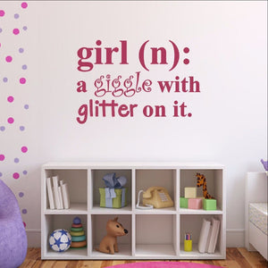 Girl Definition Giggle with Glitter on it Dictionary Decal Vinyl Wall Decal 22447 - Cuttin' Up Custom Die Cuts - 1