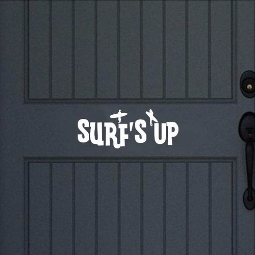 Surfs Up Vinyl Door Decal 22442 - Cuttin' Up Custom Die Cuts - 1