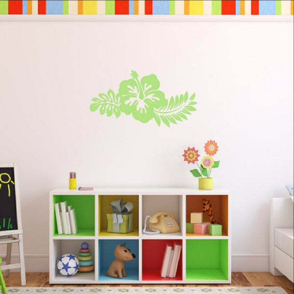 Hibiscus Flower Decal - Hawaiian Flower with Fern Leaves Vinyl Wall Decal - Beach Decor 22446 - Cuttin' Up Custom Die Cuts - 1