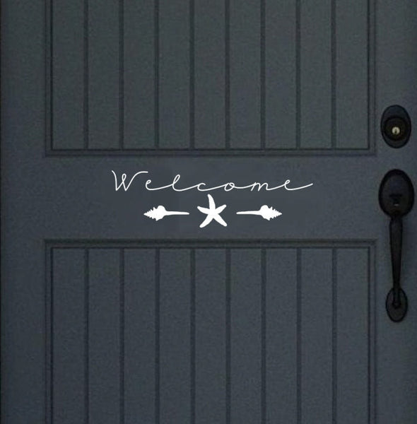 Welcome with Seashells and Starfish Vinyl Door Decal Wall Decal 22449 - Cuttin' Up Custom Die Cuts - 1