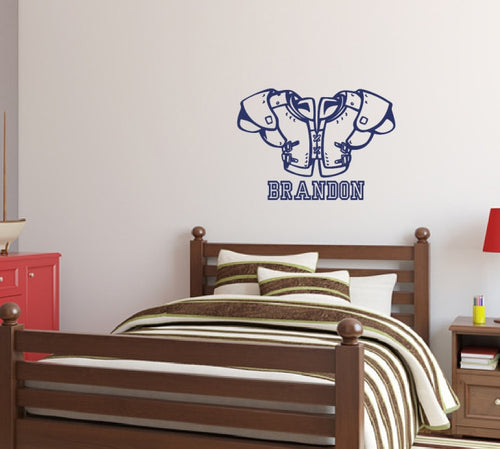 Football Pads with Name Vinyl Wall Decal  22452 - Cuttin' Up Custom Die Cuts - 1