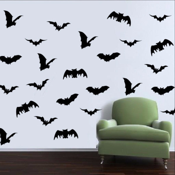 Bats Set of Twenty Five Halloween Removable Vinyl Wall Decals 22455 - Cuttin' Up Custom Die Cuts - 1