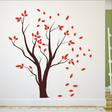 Load image into Gallery viewer, Tree with Falling Leaves Vinyl Wall Decal 22457 - Cuttin' Up Custom Die Cuts - 1