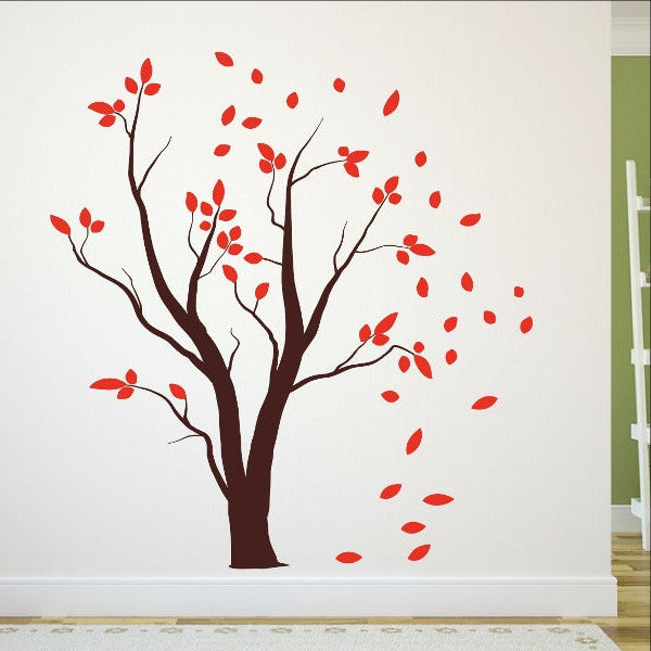 Tree With Falling Leaves Vinyl Wall Decal - Custom die cut vinyl wall decals