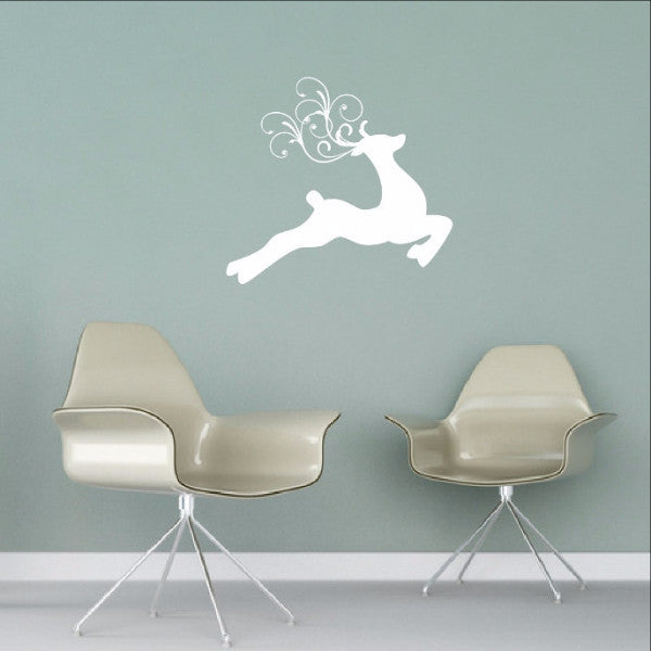Reindeer Style C with Swirly Antlers Christmas Vinyl Wall Decal 22473 - Cuttin' Up Custom Die Cuts - 1