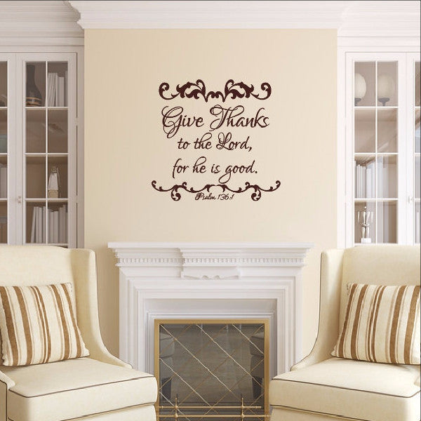 Give Thanks to the Lord Christian Thanksgiving Wall Decal 22479 - Cuttin' Up Custom Die Cuts - 1
