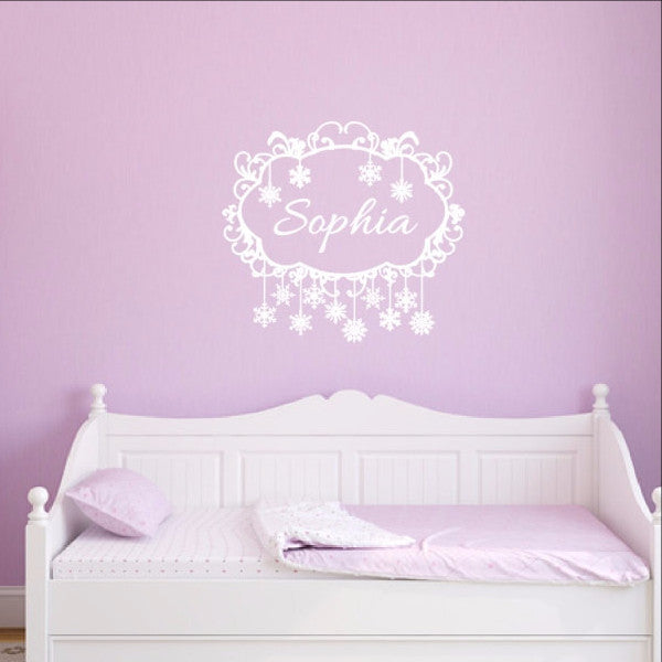 Snowflakes Frame Personalized Nursery Girls Room Custom Vinyl Wall Decal 22481 - Cuttin' Up Custom Die Cuts - 1