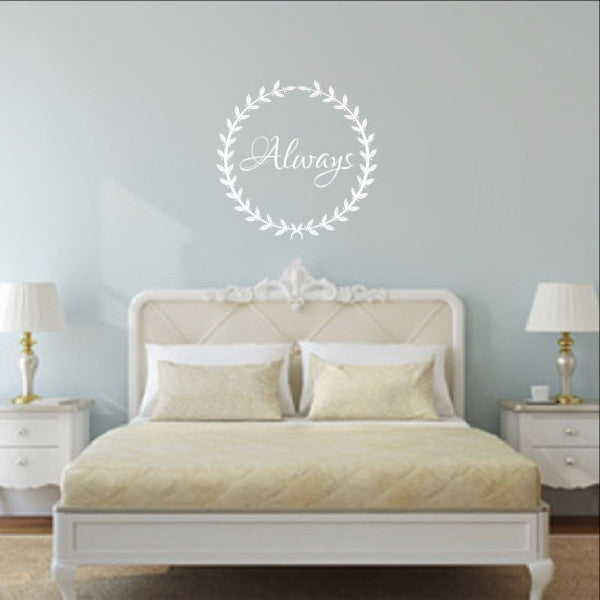 Always in Laurel Wreath Vinyl Wall Decal  22491 - Cuttin' Up Custom Die Cuts - 1