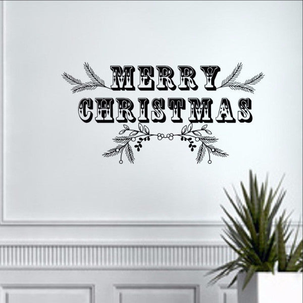 Merry Christmas with Greenery Vinyl Wall Decal 22492 - Cuttin' Up Custom Die Cuts - 1