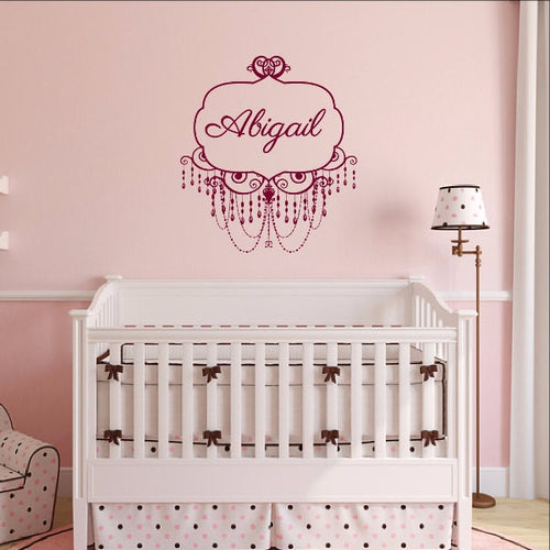 Chandelier Frame Personalized Nursery Girls Room Custom Vinyl Wall Decal 22504 - Cuttin' Up Custom Die Cuts - 1