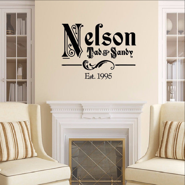 Ornate Family Name Vinyl Decal with Established Year Vinyl Wall Decal Name Style 1 22257 - Cuttin' Up Custom Die Cuts - 1