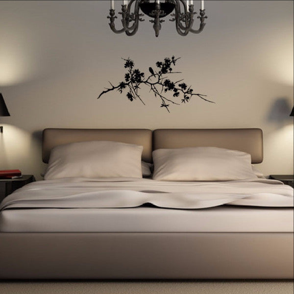 Tree Branch With Flowers and Bird Vinyl Wall Decal 22168 - Cuttin' Up Custom Die Cuts - 1