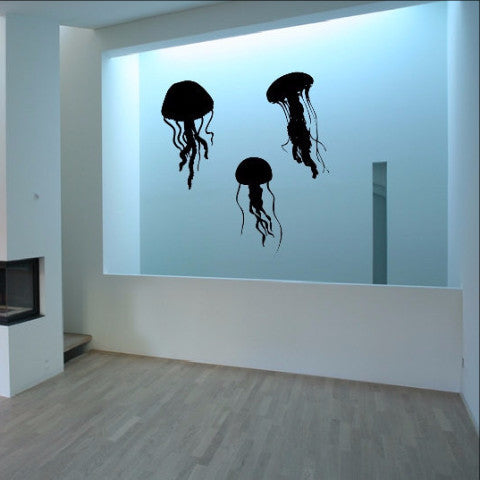Jellyfish Silhouettes Decals - Jellyfish Set of Three Vinyl Wall Decals 22513 - Cuttin' Up Custom Die Cuts - 1