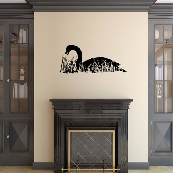 Goose in Grass Reeds Vinyl Wall Decal 22231 - Cuttin' Up Custom Die Cuts - 1