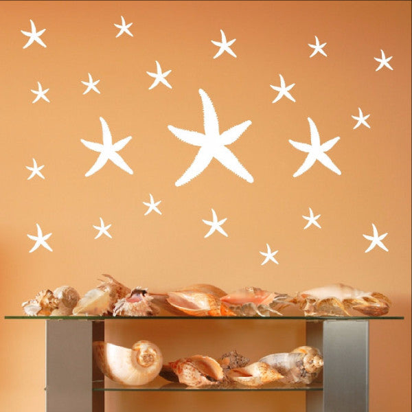 Starfish Set of 21 Nautical Beach Theme Decals 22520 - Cuttin' Up Custom Die Cuts - 1