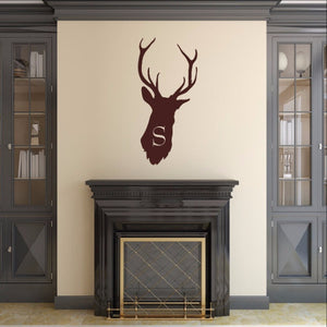 Deer Head Monogram Style B2 Vinyl Wall Decal 22524 - Cuttin' Up Custom Die Cuts - 1