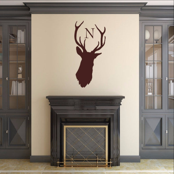 Monogram Deer Head Style B1 Vinyl Wall Decal 22524 - Cuttin' Up Custom Die Cuts - 1