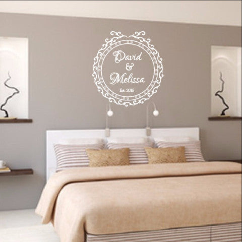 Personalized Names Wall Decal - Elegant Vintage Style Frame G Decal 22525 - Cuttin' Up Custom Die Cuts - 1