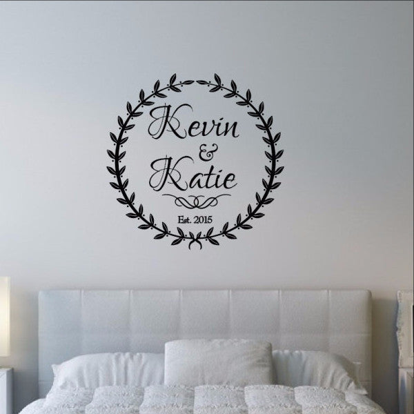 Custom Laurel Wreath with Names and Established Date Wedding Decal 22528 - Cuttin' Up Custom Die Cuts - 1