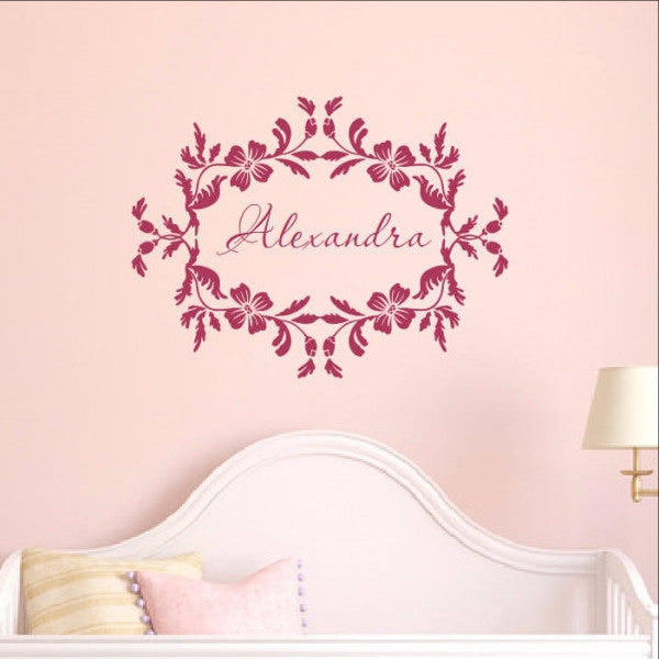 Floral Frame With Name Vinyl Wall Decal  22534 - Cuttin' Up Custom Die Cuts - 1