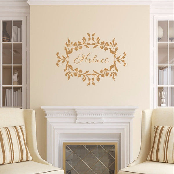 Last Name Wall Decal - Family Name Wall Decal - Floral Frame Decal 22534 - Cuttin' Up Custom Die Cuts - 1