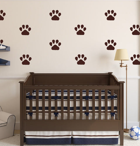 Puppy Paw Prints Vinyl Wall Decals - Set of 5 Inch Paw Prints 22542 - Cuttin' Up Custom Die Cuts - 1