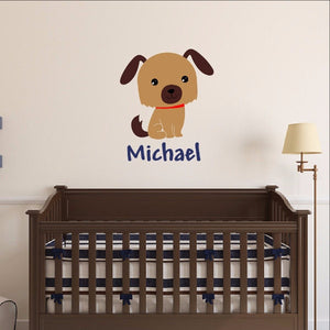 Personalized Puppy Vinyl Wall Decal 22547 - Cuttin' Up Custom Die Cuts - 1