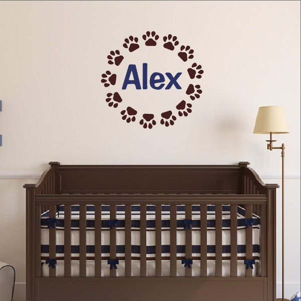 Puppy Paw Print Frame With Name Vinyl Wall Decal 22545 - Cuttin' Up Custom Die Cuts - 1