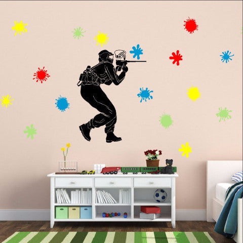 Paintball Player with Paint Splatters Vinyl Wall Decal Set 22259 - Cuttin' Up Custom Die Cuts