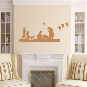 Nativity Scene Vinyl Wall Decal 22351 - Cuttin' Up Custom Die Cuts - 1