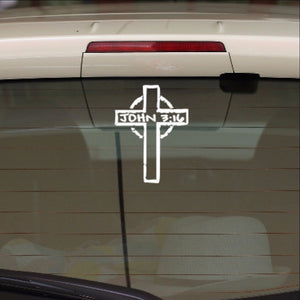 Cross with John 3 16 Vinyl Car Decal 22555 - Cuttin' Up Custom Die Cuts