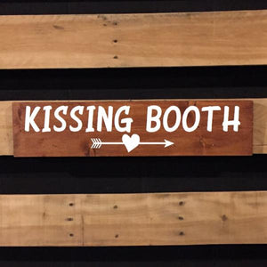Kissing Booth Painted Wooden Sign