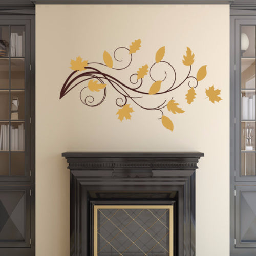 Leaves with Swirls Vinyl Wall Decal Set 22585