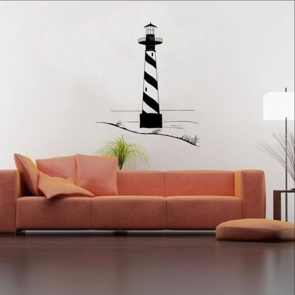 Lighthouse with Sand Dunes Vinyl Wall Decal 22099 - Cuttin' Up Custom Die Cuts - 1