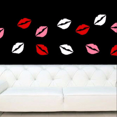 Lips Valentines Day Removable Vinyl Wall Decal Set of 12 - Cuttin' Up Custom Die Cuts - 1