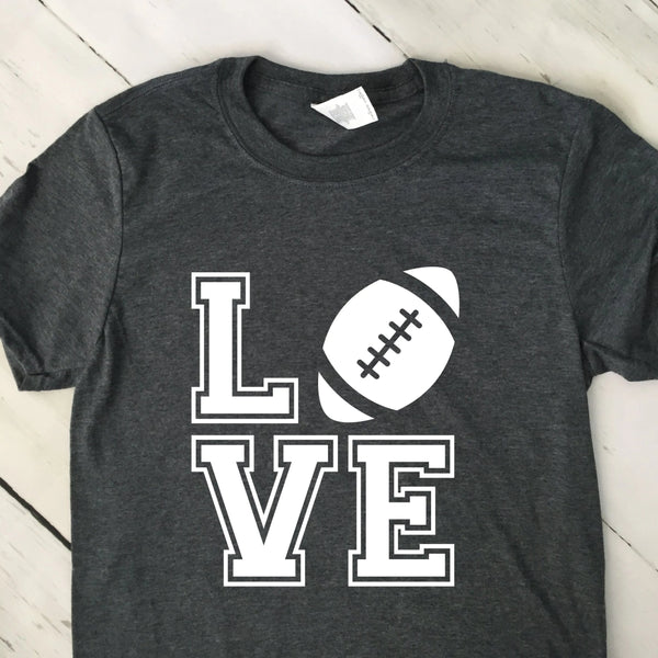 Love Block With Football Short Sleeve T Shirt Dark Heather Gray White Lettering