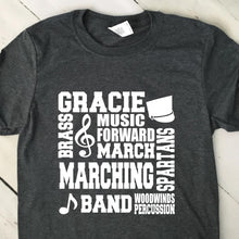 Load image into Gallery viewer, Personalized Marching Band Subway Art T Shirt 22622
